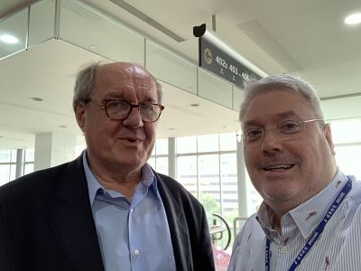 Alan Hopkirk and Professor Josef rauschecker at TRI 2019 (Tinnitus Research Initiative)