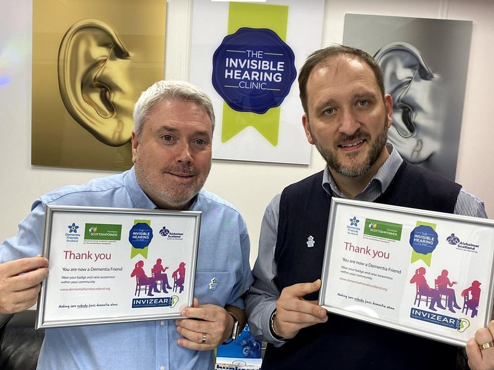 Alan and Michael Pose with their Dementia Friends Certificates