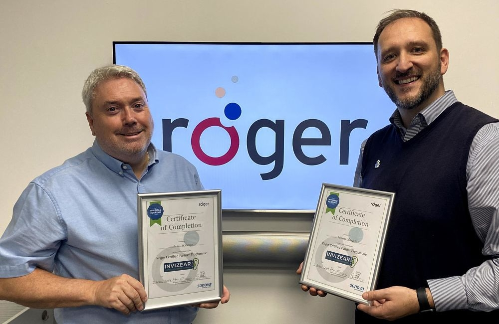 Alan and Michael pose with their Roger Training Certificates
